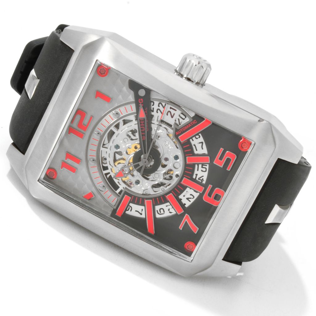 625-052 - Stührling Original Rectangular Madman Skelly Automatic Rubber Strap Watch