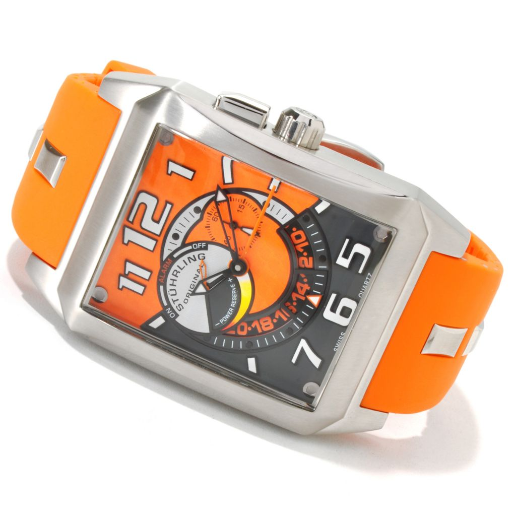 625-054 - Stührling Original Rectangular Madman Complex Quartz Stainless Steel Rubber Strap Watch