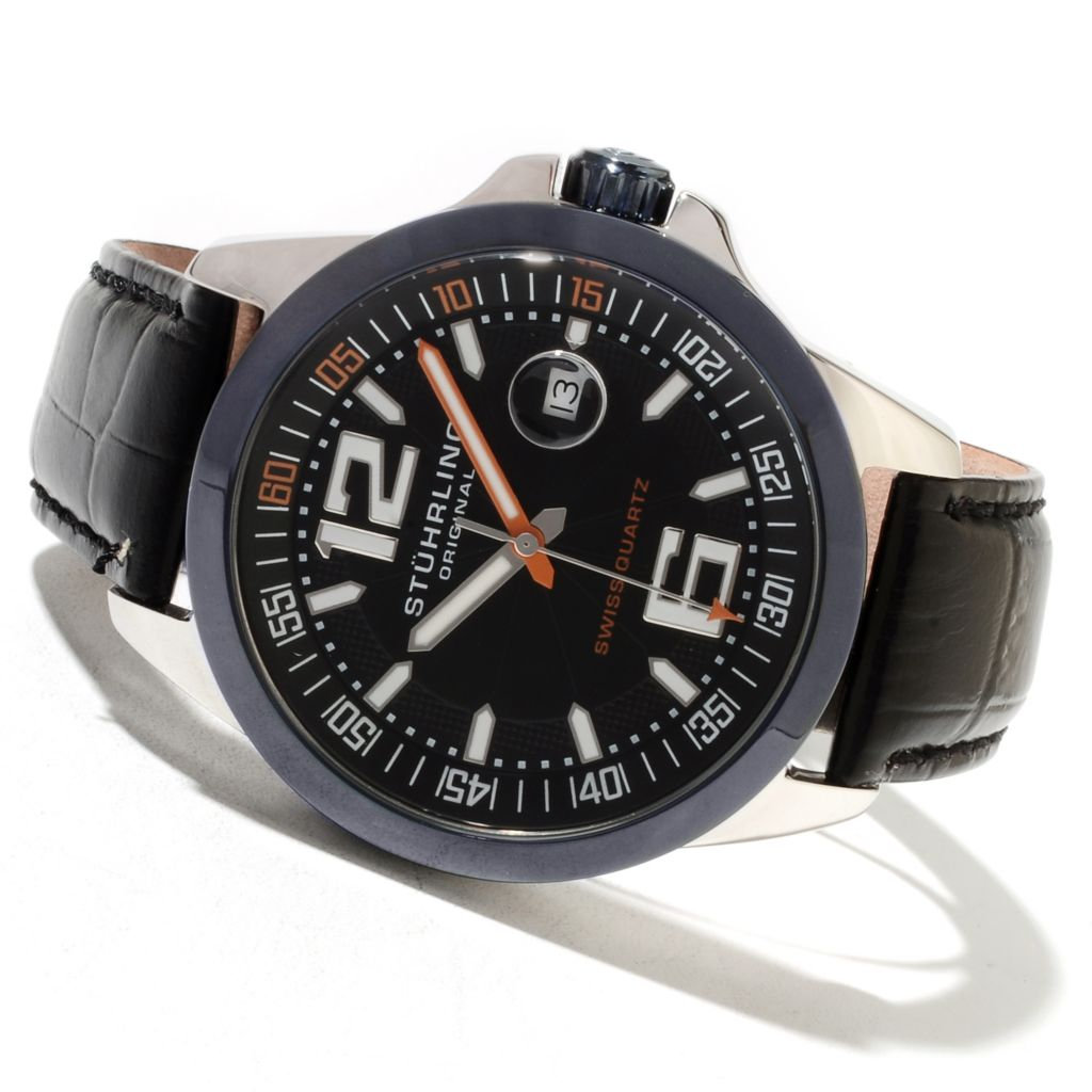 625-055 - Stührling Original Men's Concorso Villa Quartz Leather Strap Watch