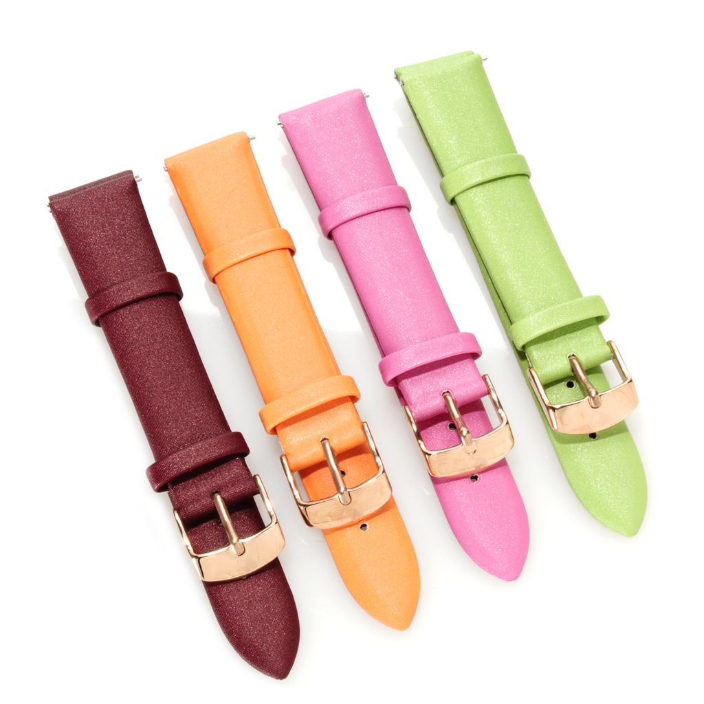 625-058 - Stührling Original Women's Amour Set of Four 18mm Leather Straps