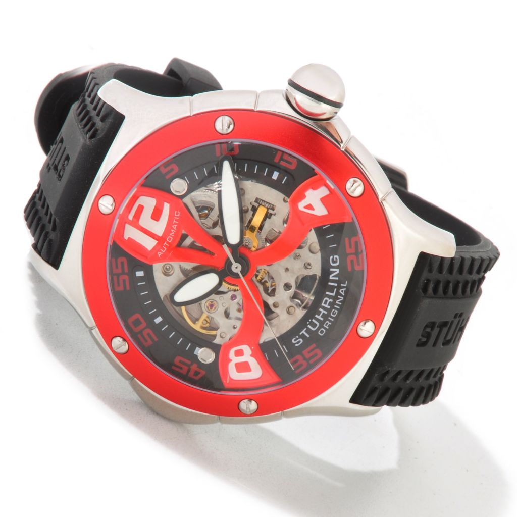 625-061 - Stührling Original 54mm Alpine Xtreme Skeletonized Automatic Rubber Strap Watch