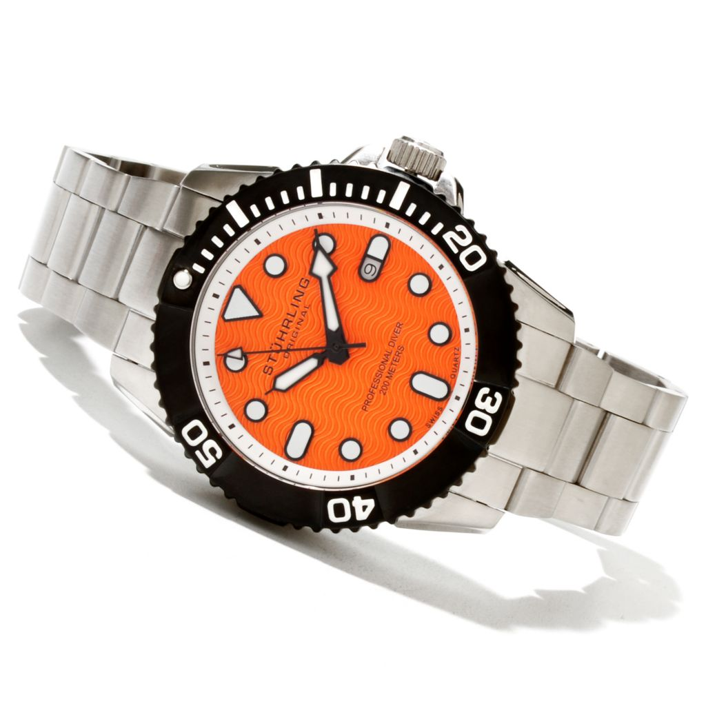 625-063 - Stührling Original Men's Professional Diver Quartz Stainless Steel Bracelet Watch