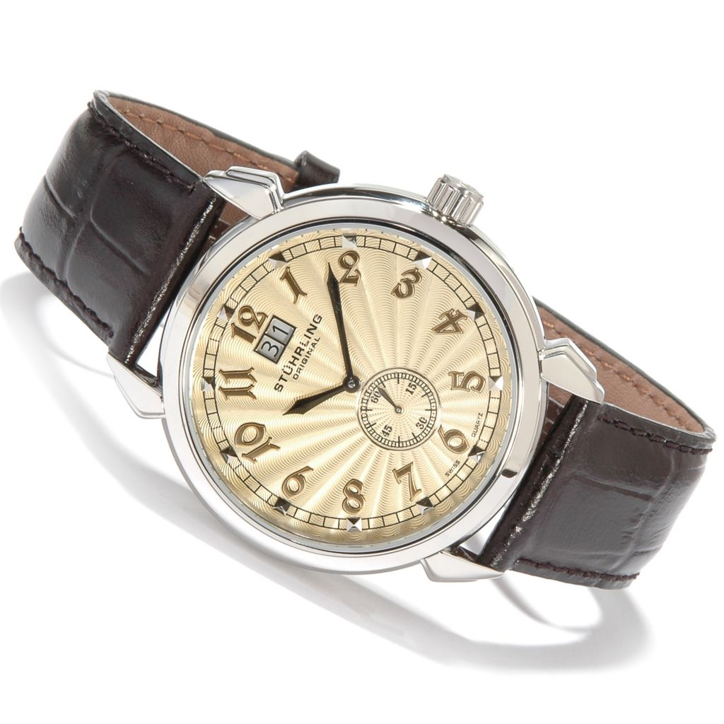 625-068 - Stührling Original 44mm Eternal Sunrise II Big Date Black Leather Strap Watch