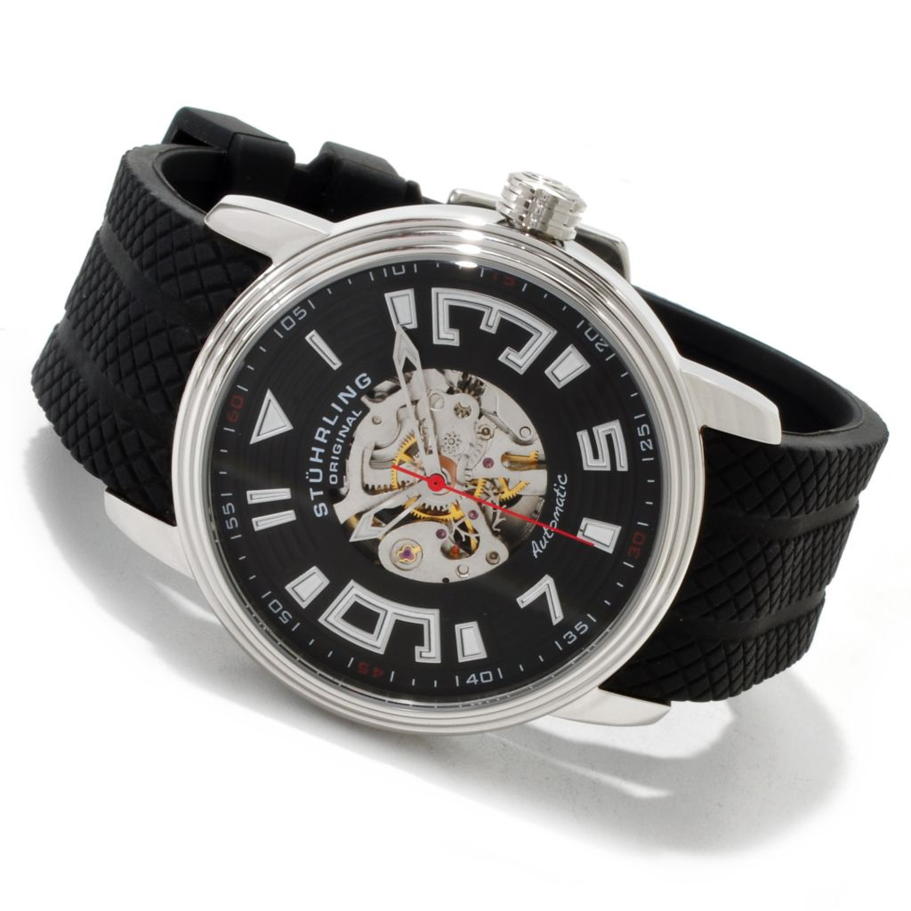 625-069 - Stührling Original 44mm Delphi Helios Skeleton Automatic Rubber Strap Watch