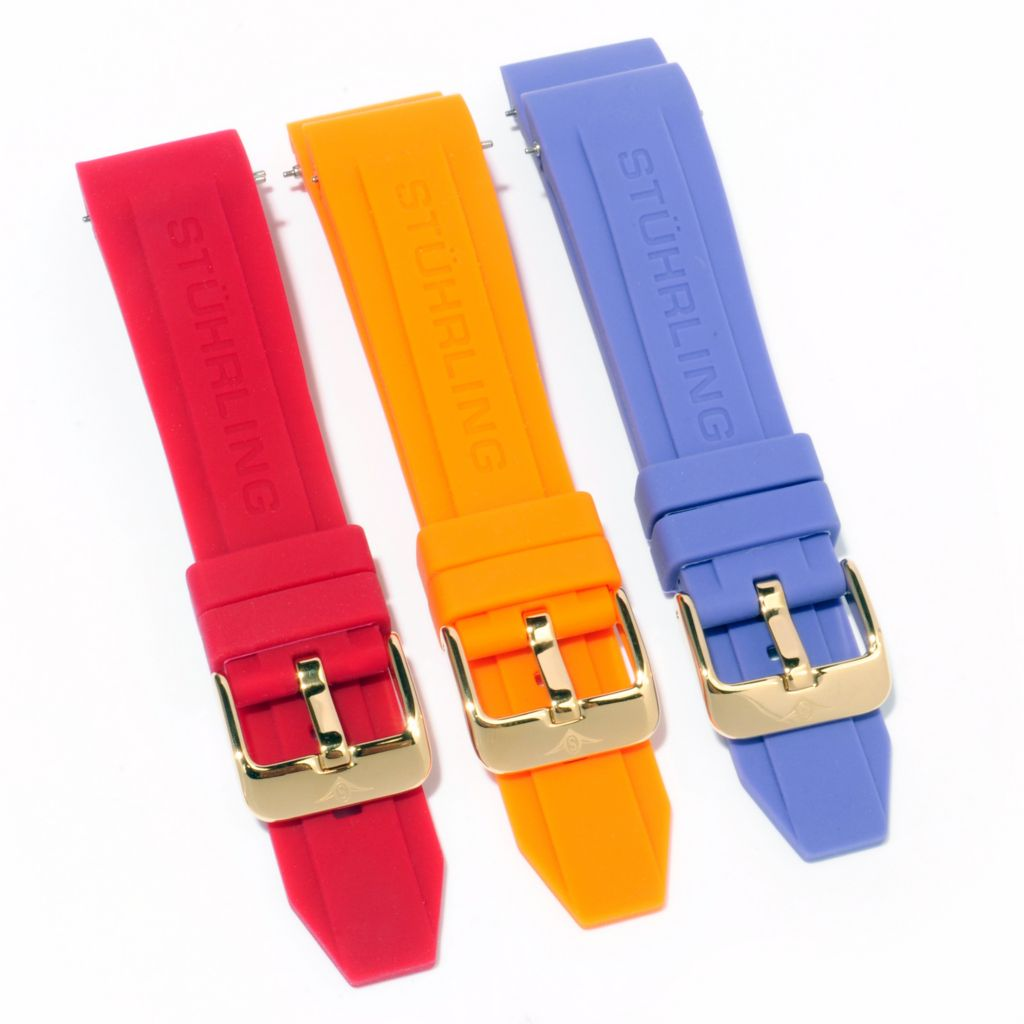 625-078 - Stührling Original Manchester Ozzie Set-of-Three Interchangeable Rubber Straps