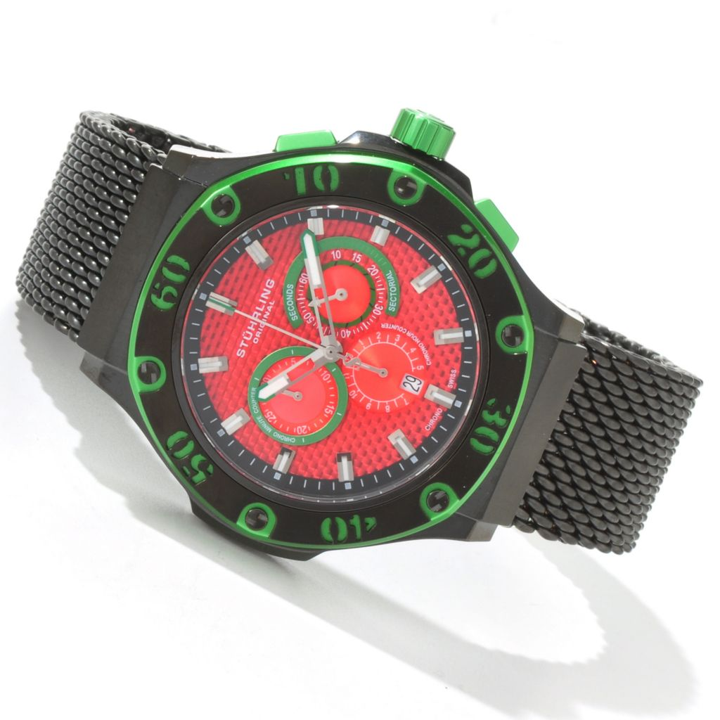 625-080 - Stührling Original Men's Iconoclast Swiss Chronograph Mesh Bracelet Watch
