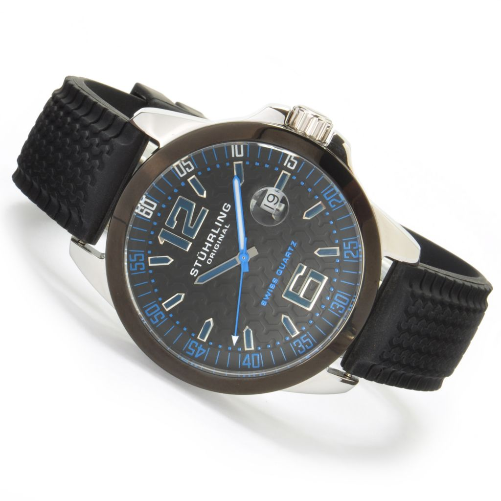 625-082 - Stührling Original 46mm Monterey Bay Quartz Rubber Strap Watch