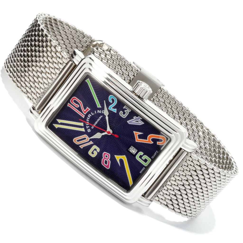 625-083 - Stührling Original Rectangular Uptown Ozzie Genteel Quartz Mesh Stainless Steel Bracelet Watch