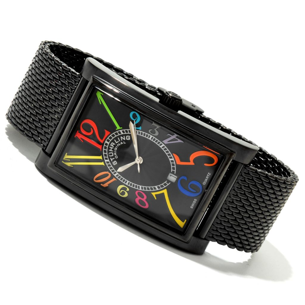 625-084 - Stührling Original Rectangular Empire Ozzie Elite Quartz Black Bezel Bracelet Watch