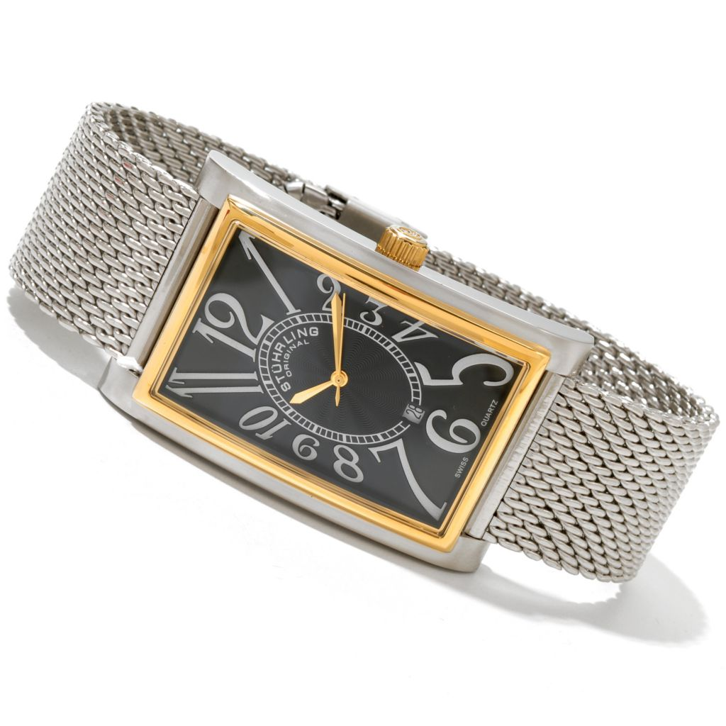 625-085 - Stührling Original Rectangular Empire Ozzie Elite Quartz Colored Bezel Bracelet Watch