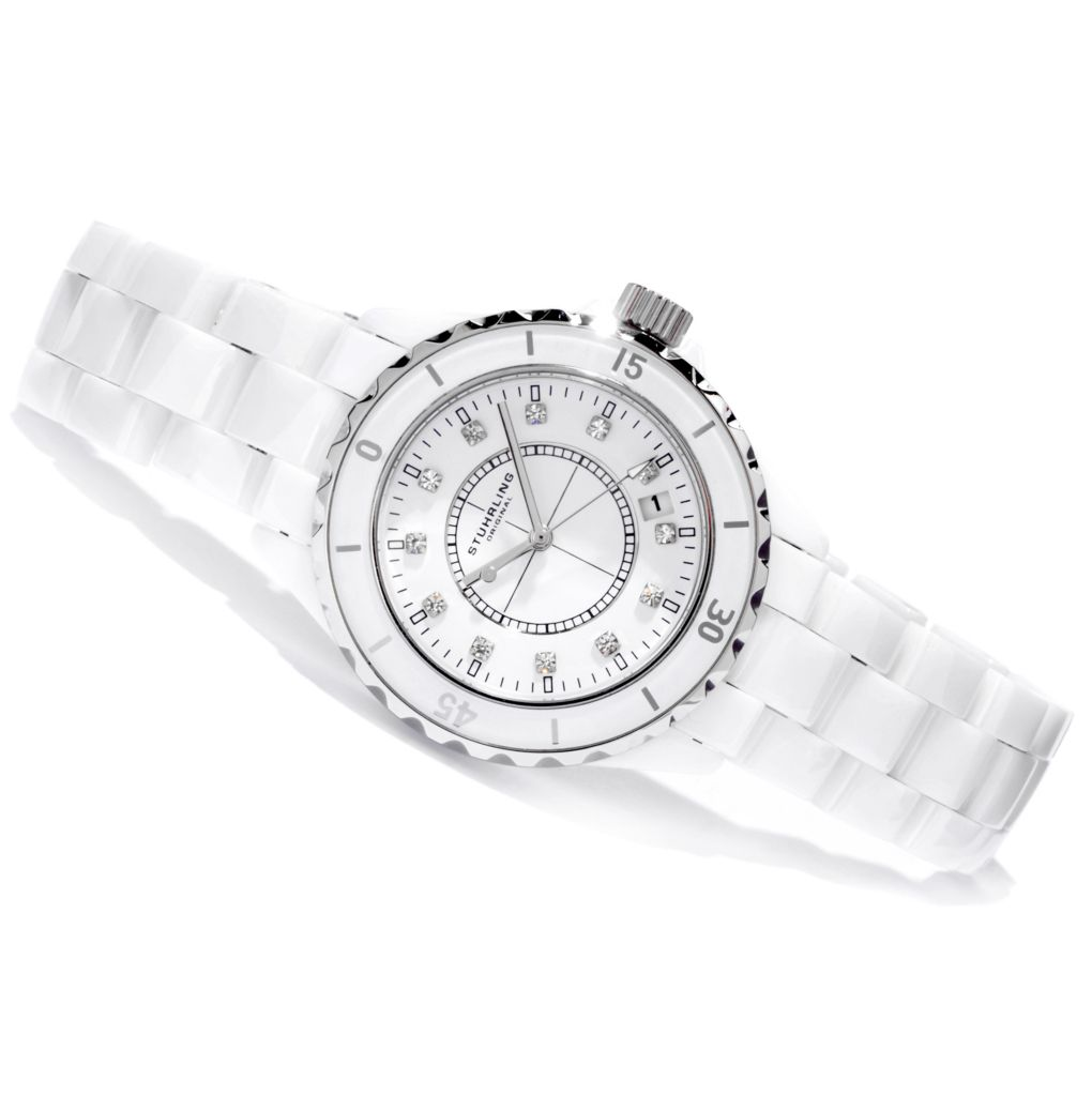 625-091 - Stührling Original Purity Ceramic Bracelet Watch Made w/ Swarovski® Elements