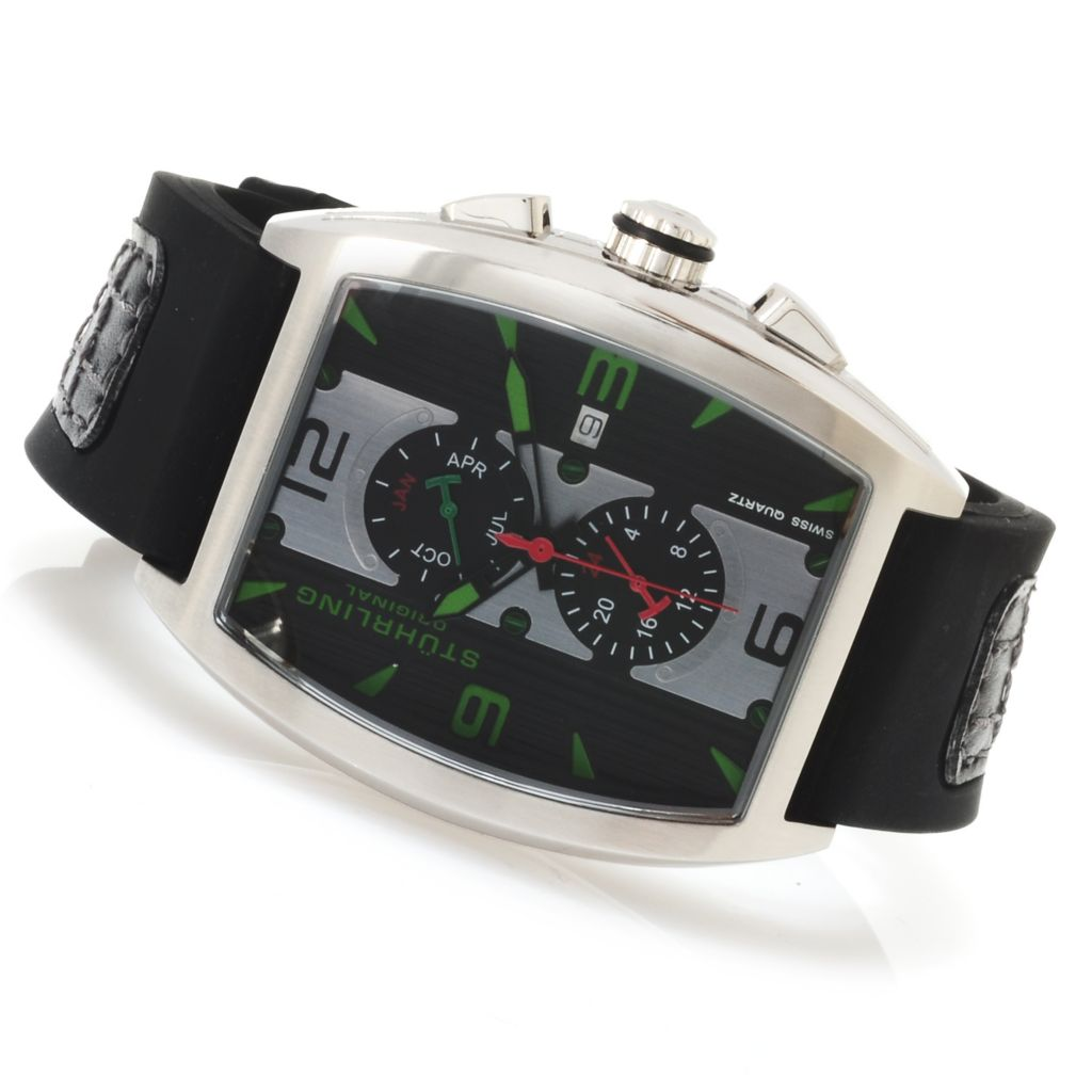 625-098 - Stührling Original Men's Millennia Quartz Stainless Steel Rubber Strap Watch