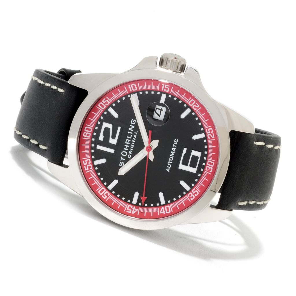 625-100 - Stührling Original 44mm Concorso Automatic Stainless Steel Leather Strap Watch