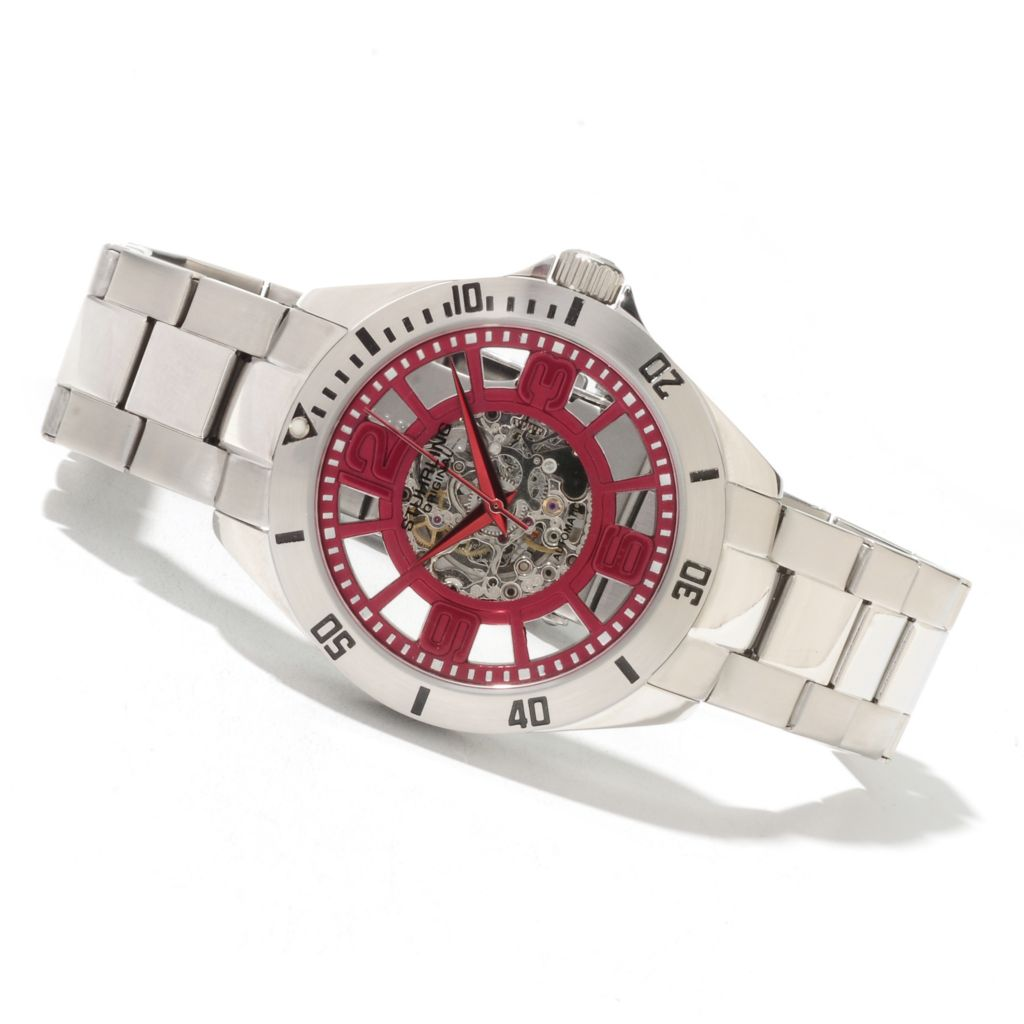 625-103 - Stührling Original Neo Winchester Men's Automatic Skeletonized Stainless Steel Bracelet Watch