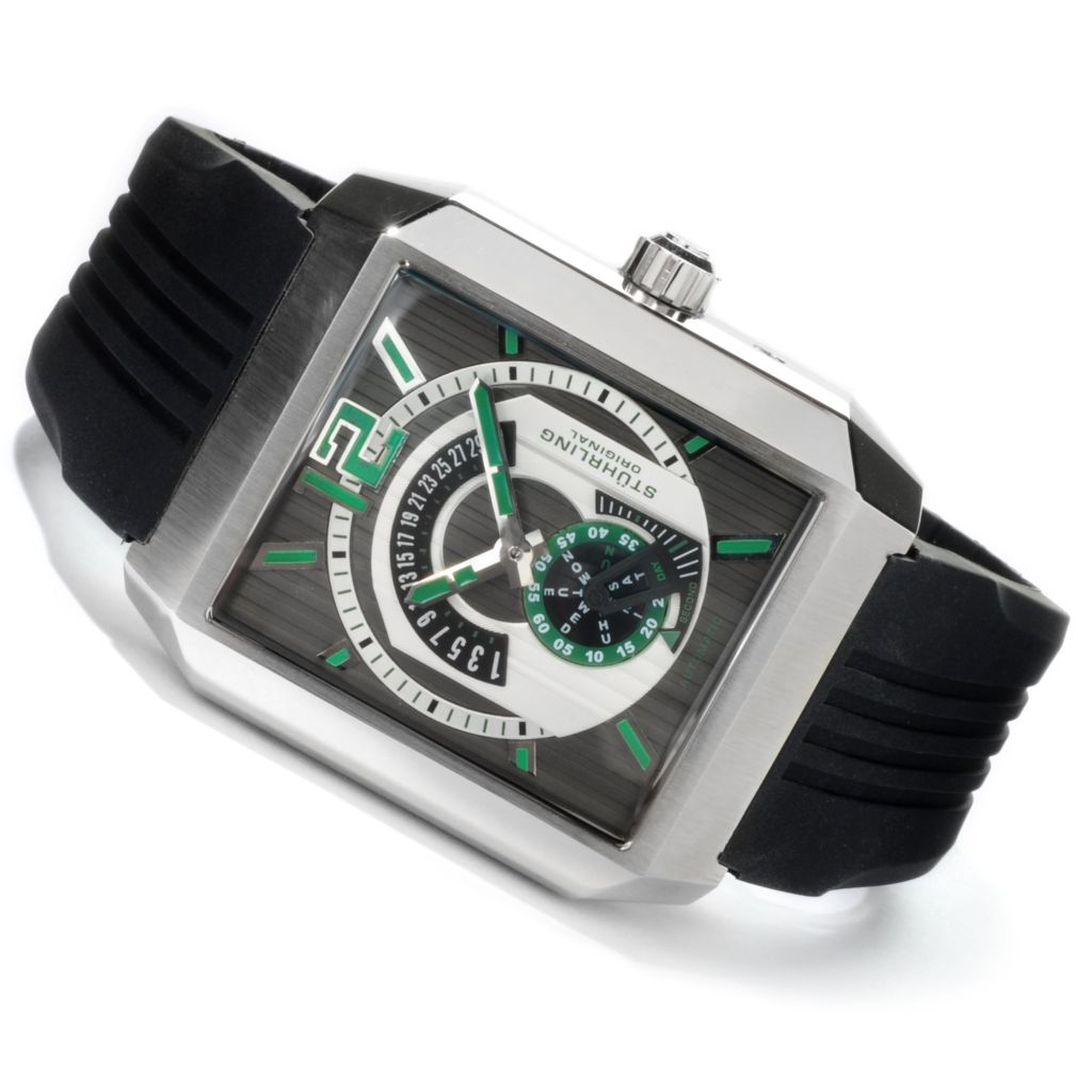 625-107 - Stührling Original Rectangular Metropolis Automatic Rubber Strap Watch