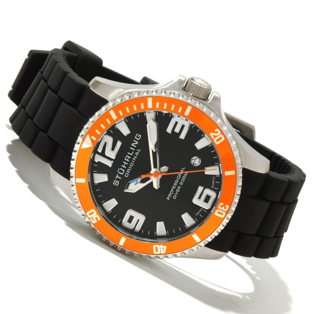 625-108 - Stührling Original Men's Regatta Champion Sport Quartz Stainless Steel Rubber Strap Watch