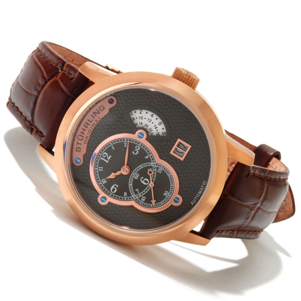 625-118 - Stührling Original Men's Eclipse Apogee Automatic Stainless Steel Leather Strap Watch