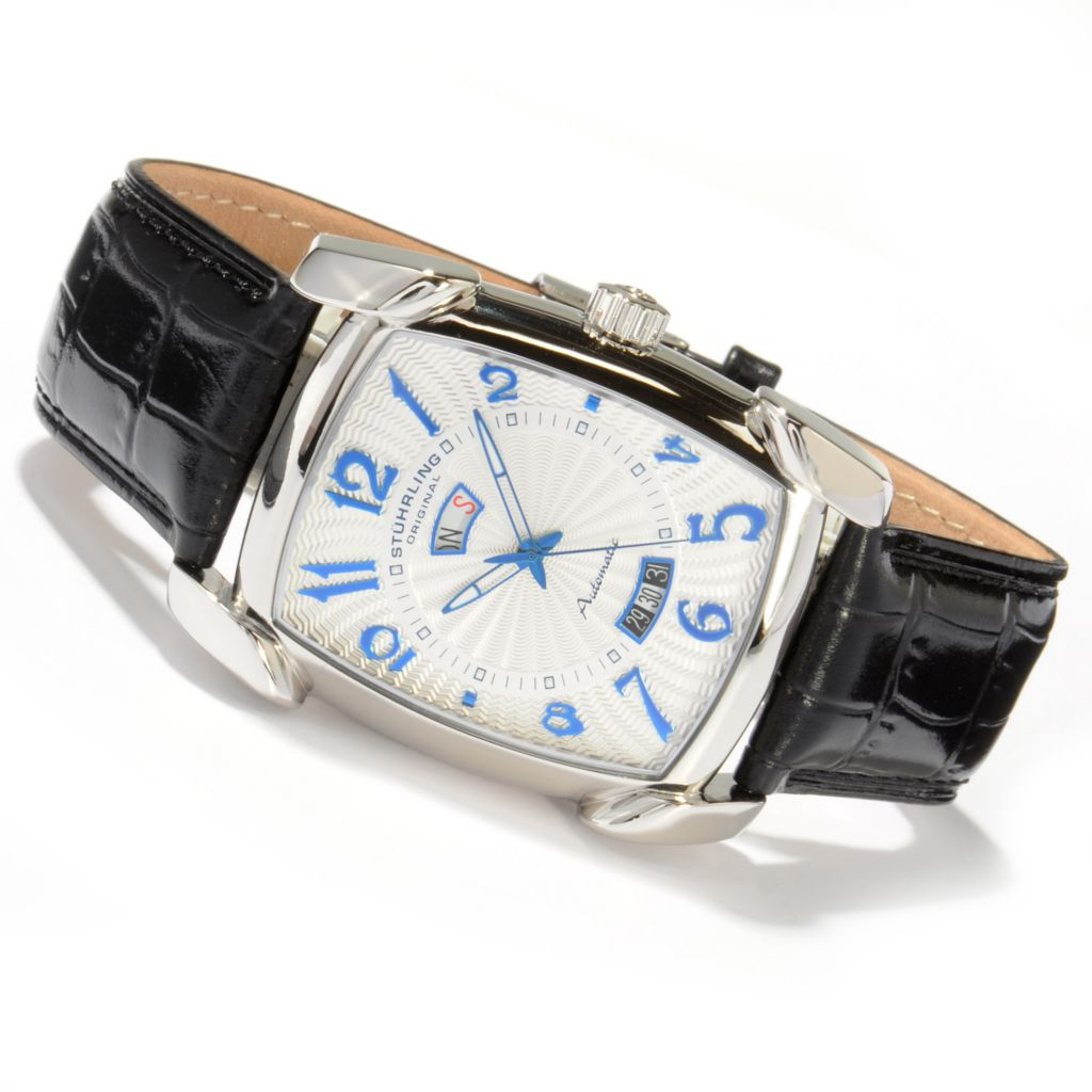 625-119 - Stuhrling Original Rectangular Madison Automatic Colored Dial Leather Strap Watch