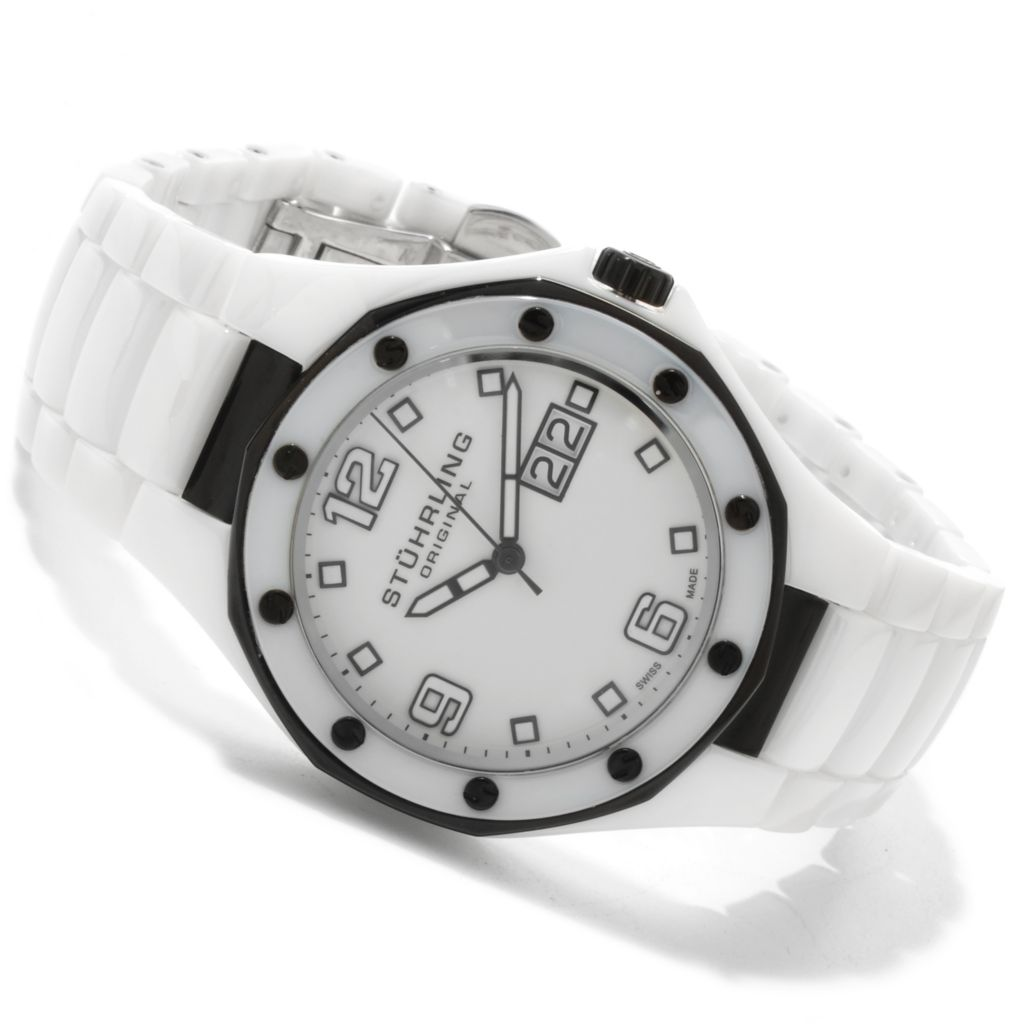 625-121 - Stührling Original Men's or Women's Apocalypse Swiss Made Quartz Ceramic Bracelet Watch