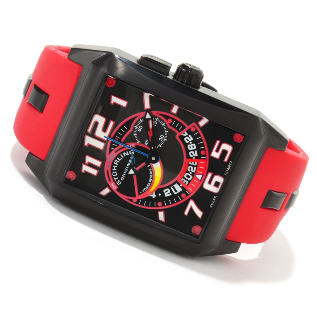 625-125 - Stührling Original Rectangular Madman Complex Quartz Rubber Strap Watch