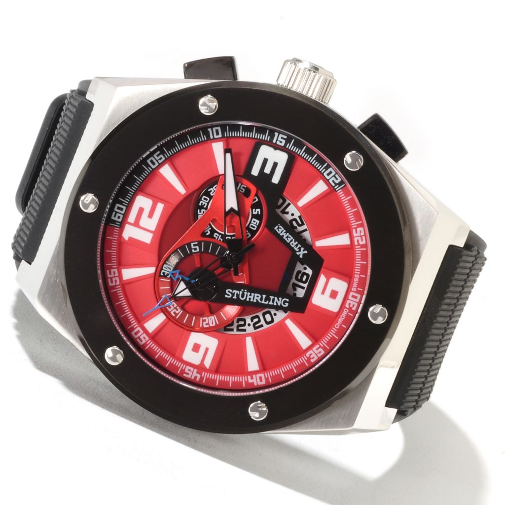 625-126 - Stührling Xtreme 52mm Esprit Turbine Quartz Chronograph Rubber Strap Watch