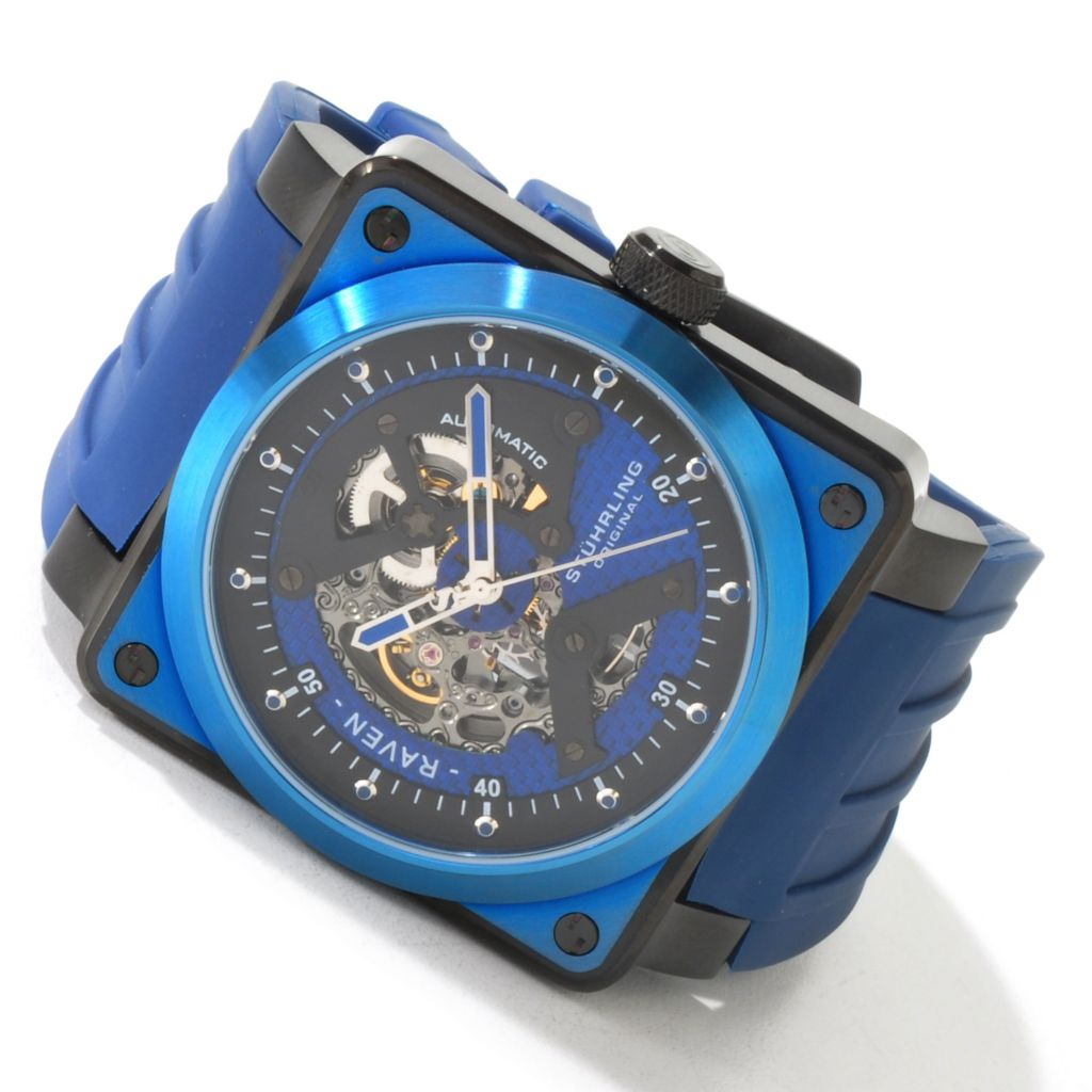 625-128 - Stührling Original Men's Raven Rebel Automatic Rubber Strap Watch