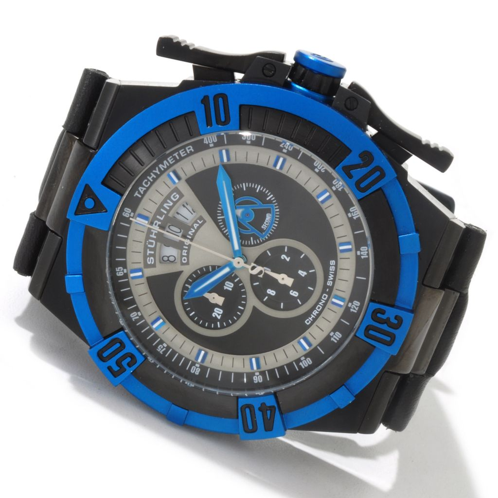 625-130 - Stührling Original 52mm Falcon Predator XL Swiss Quartz Chronograph Leather Strap Watch