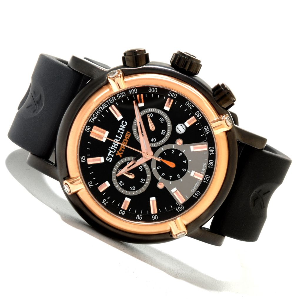 625-135 - Stührling Xtreme Men's Aevus Quartz Chronograph Rubber Strap Watch