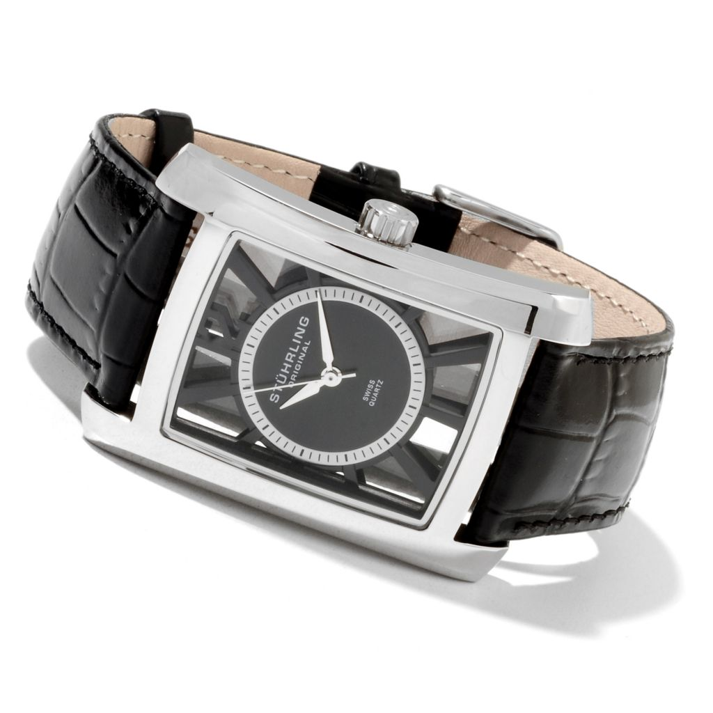 625-137 - Stührling Original Rectangular Gatsby Quartz Stainless Steel Leather Strap Watch