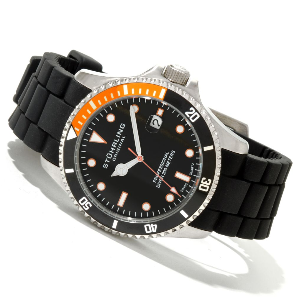 625-138 - Stührling Original 42mm Regatta Diver Sport Quartz Stainless Steel Rubber Strap Watch