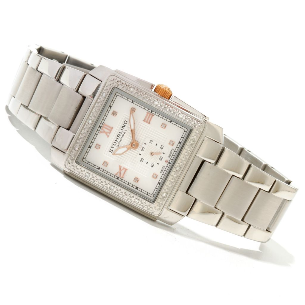 625-140 - Stührling Original Women's Lady Regency Quartz Diamond Accented Stainless Steel Bracelet Watch