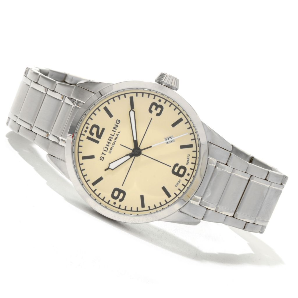 625-145 - Stührling Original Tuskegee Elite Men's Quartz Stainless Steel Bracelet Watch