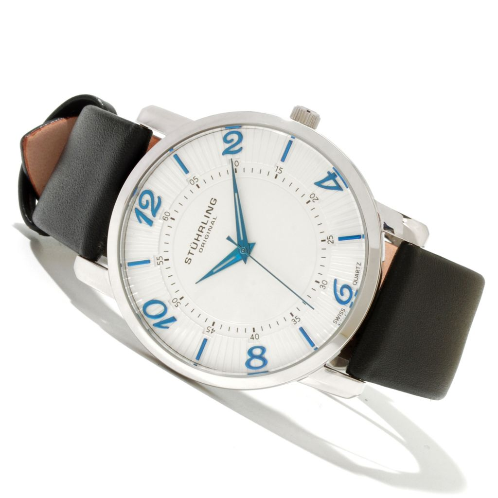 625-152 - Stührling Original Men's Corona Ultra Slim Quartz Stainless Steel Leather Strap Watch