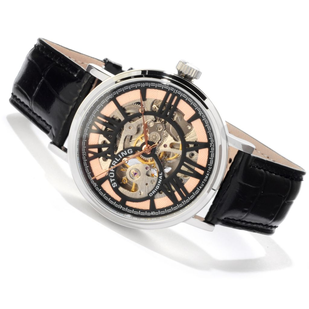 625-156 - Stührling Original Men's Delphi Automatic Open Heart Leather Strap Watch