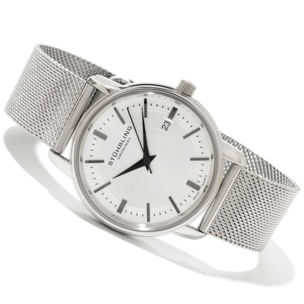 625-158 - Stührling 40mm Monmouth Quartz Stainless Steel Mesh Bracelet Watch