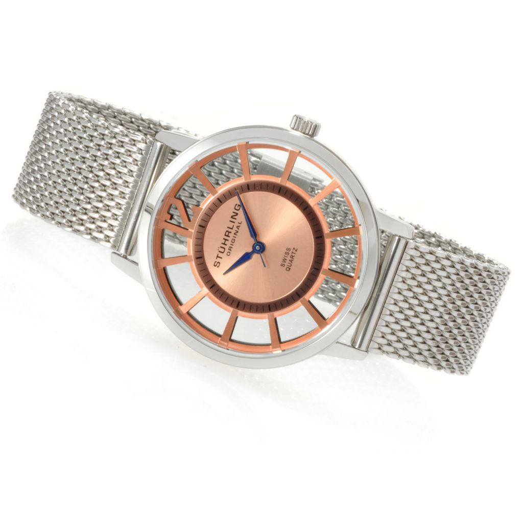 625-159 - Stührling Original Mid-Size Winchester Swiss Quartz Mesh Stainless Steel Bracelet Watch