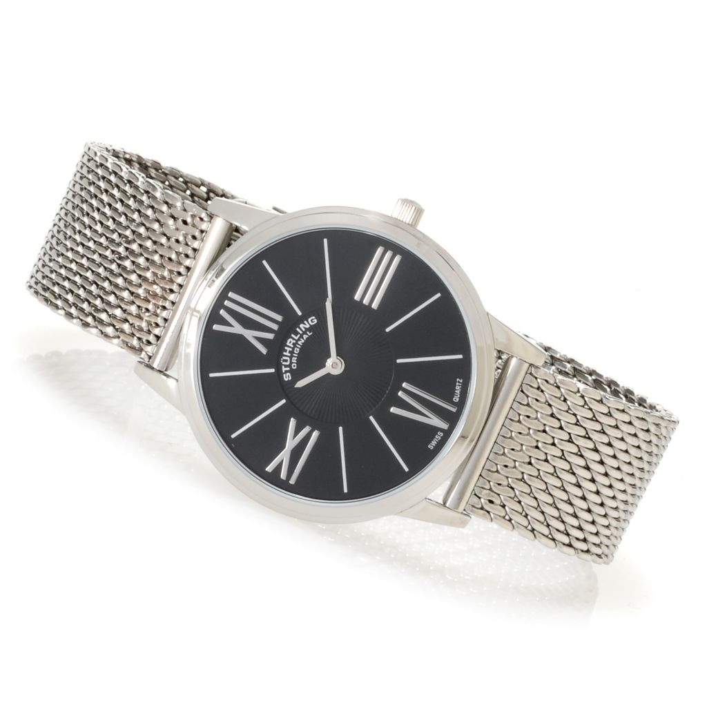 625-163 - Stührling Original 38mm Ascot Quartz Stainless Steel Mesh Bracelet Watch