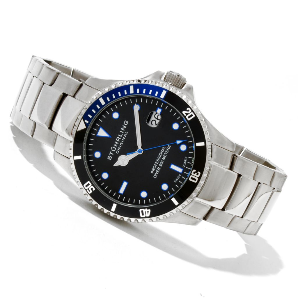 625-164 - Stührling Original Men's Regatta Quartz Stainless Steel Bracelet Watch