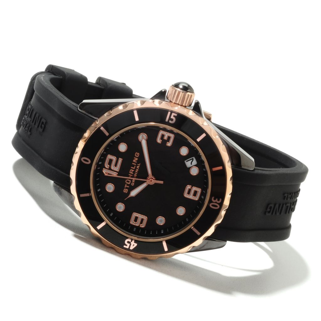 625-165 - Stührling Original Women's Seraph Quartz Ceramic Rubber Strap Watch