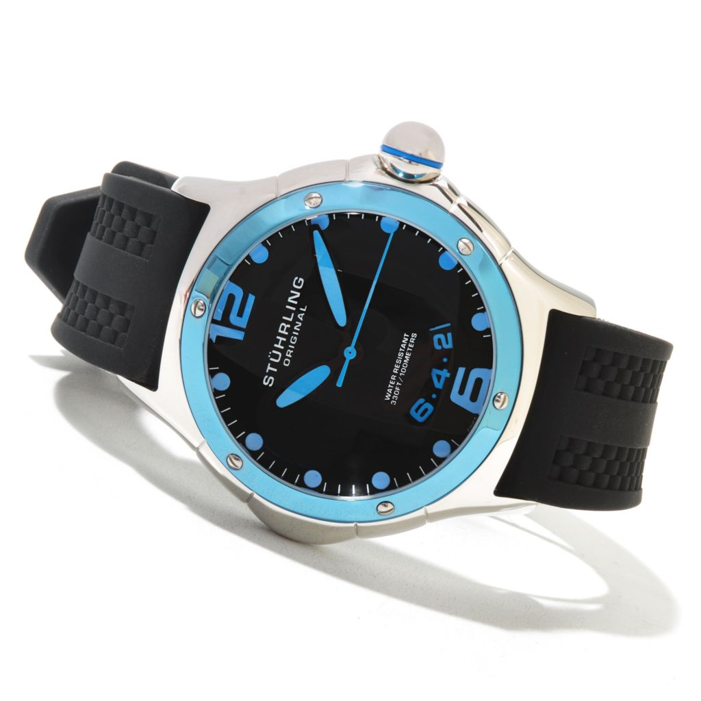 625-166 - Stührling Original Men's Alpine Slope Quartz Stainless Steel Rubber Strap Watch