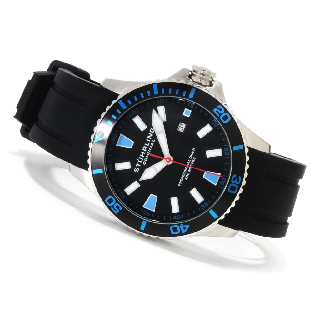 625-168 - Stührling Original Men's Regatta Quartz Stainless Steel Rubber Strap Watch