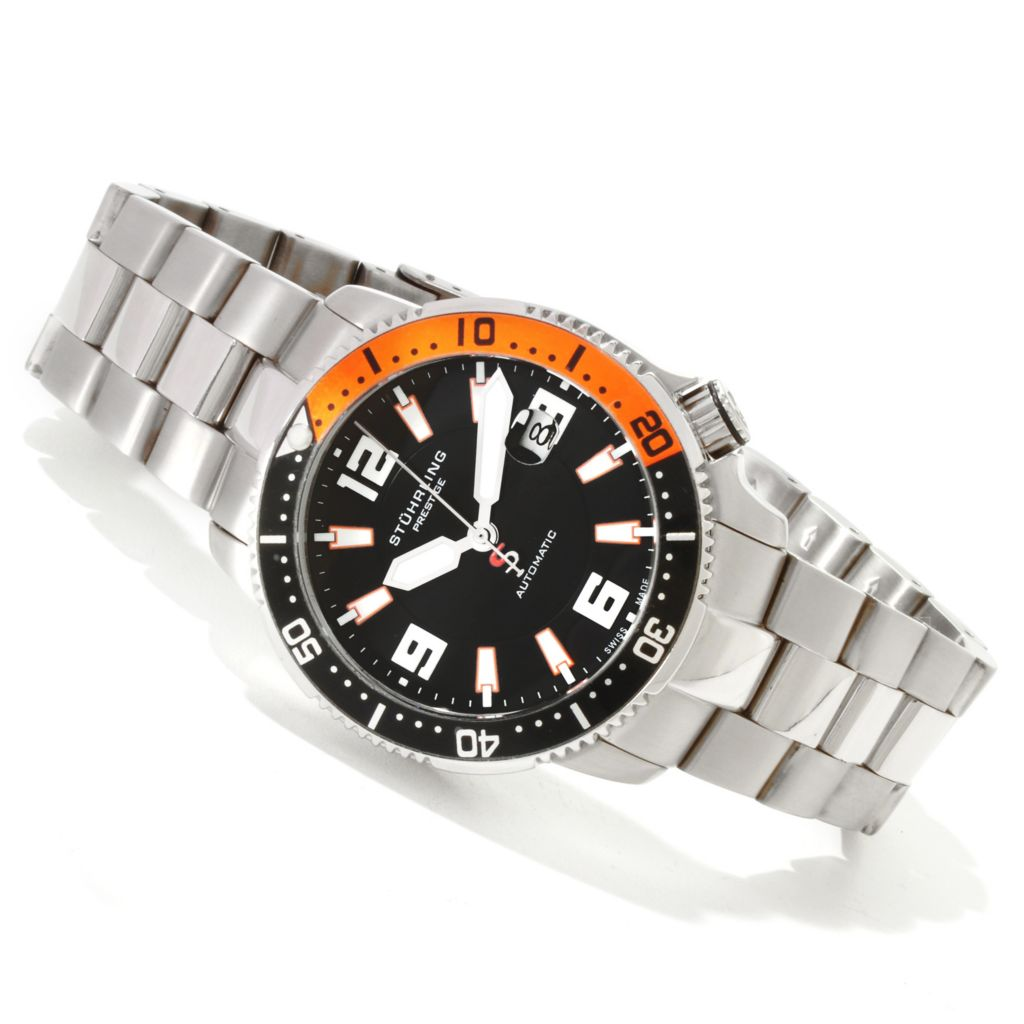 625-169 - Stührling Prestige 42mm Regatta Cruiser Swiss Made Automatic Stainless Steel Bracelet Watch