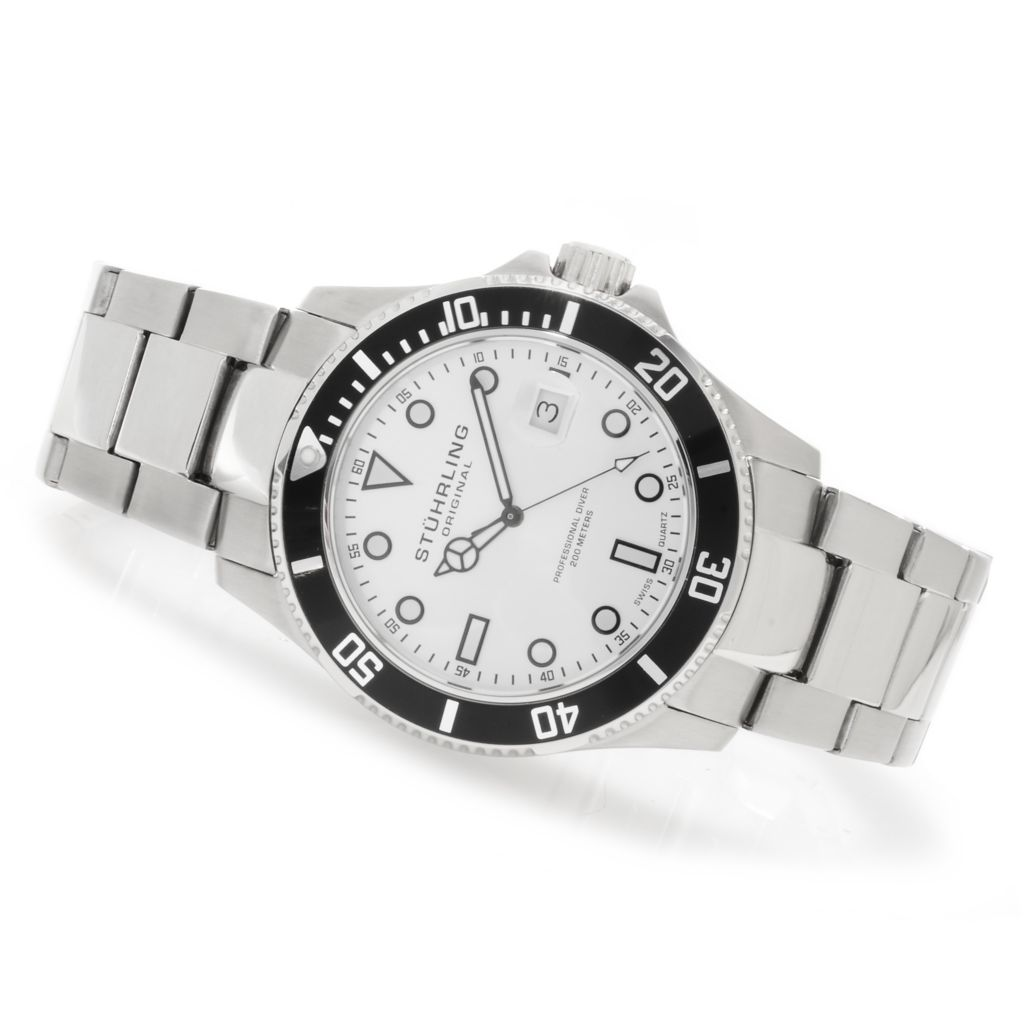625-170 - Stührling Original 44mm Regatta Espora Quartz Stainless Steel Bracelet Watch