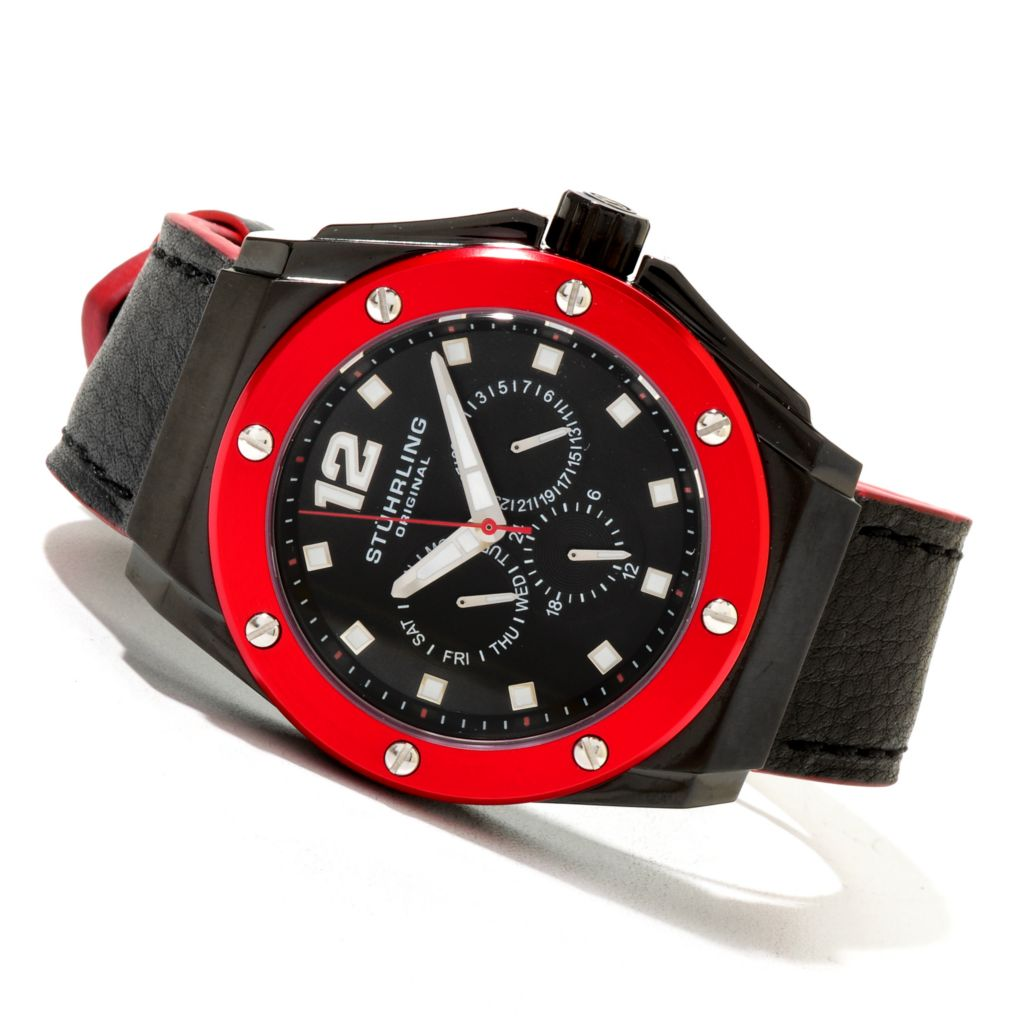 625-174 - Stührling Original 47mm Midnight Apocalypse Quartz Multifunction Leather Strap Watch