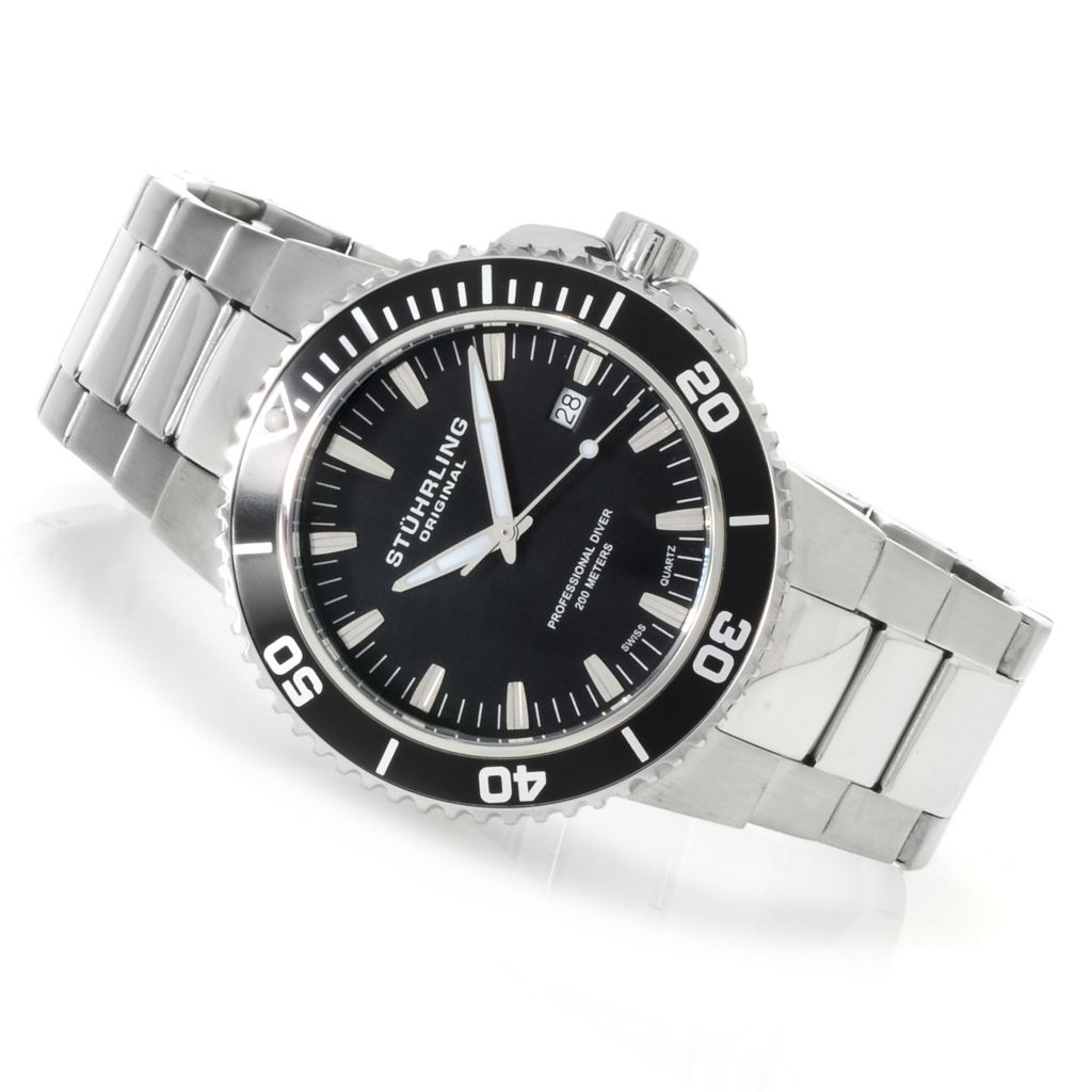 625-176 - Stührling Original 43mm Regatta Corvet Quartz Stainless Steel Bracelet Watch