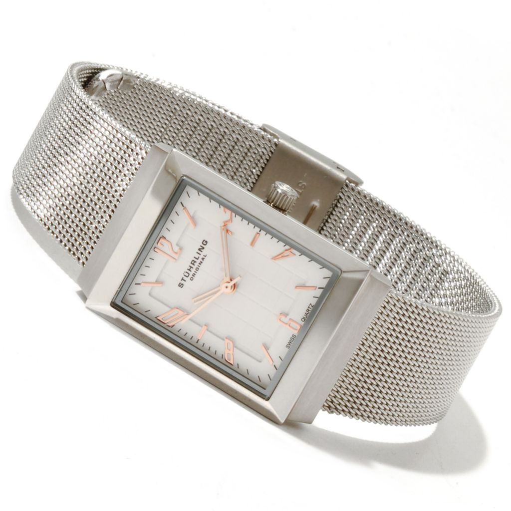 625-178 - Stührling Original Women's Prospect Quartz Stainless Steel Mesh Bracelet Watch
