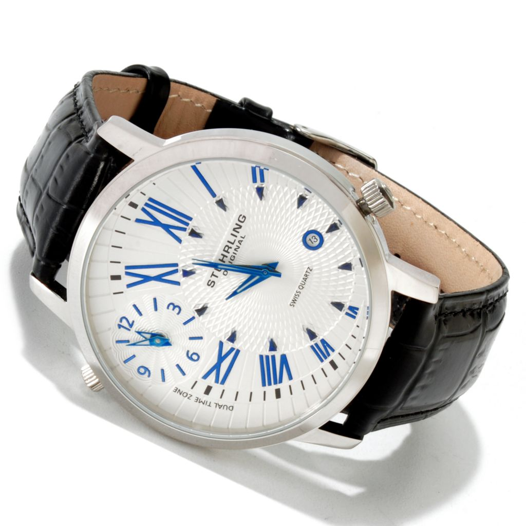 625-180 - Stührling Original 44mm Classic Dual Time Quartz Leather Strap Watch