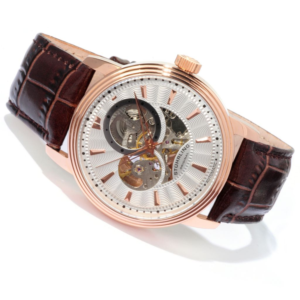 625-181 - Stührling Original 44mm Delphi Aceron Automatic Semi-Skeletonized Leather Strap Watch