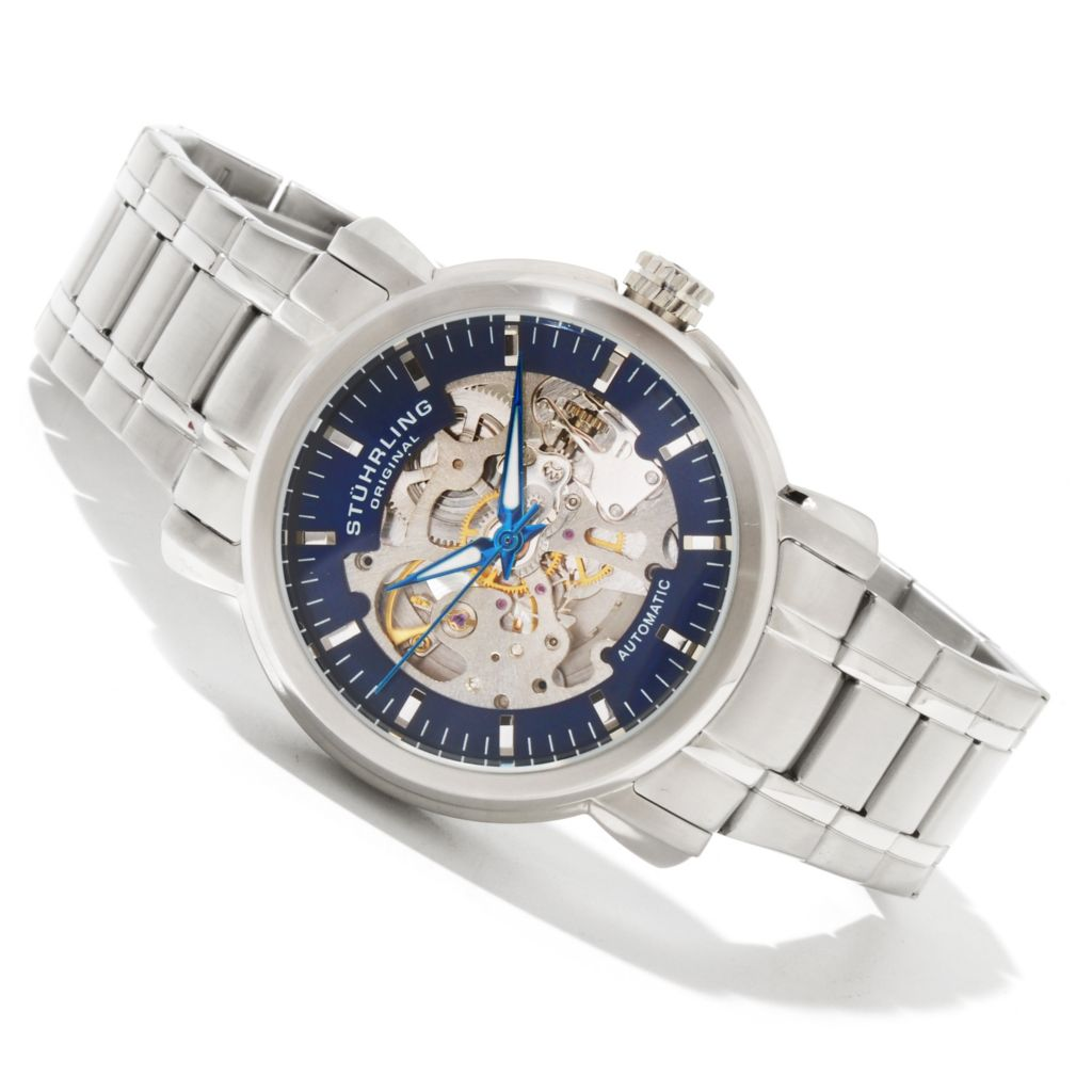 625-183 - Stührling Original 42mm Delphi Antium Automatic Stainless Steel Bracelet Watch