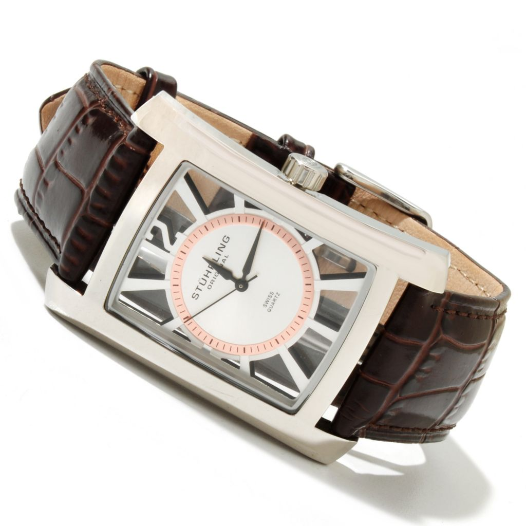 625-186 - Stührling Original Rectangular Gatsby Quartz Stainless Steel Leather Strap Watch